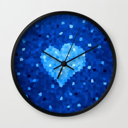 Winter Blue Crystallized Abstract Heart Wall Clock