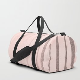 Rose Gold Pastel Pink Vertical Stripes Duffle Bag