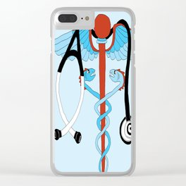 medical caduceus and stethoscope Clear iPhone Case