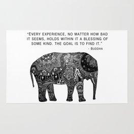Buddha Quote with Henna Elephant Rug