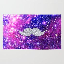 Galaxy Nebula Glitter Mustache Pink Space Rug