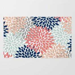 Floral Bloom Print, Coral, Pink, Pale, Aqua, Blue, Gray, Navy Rug