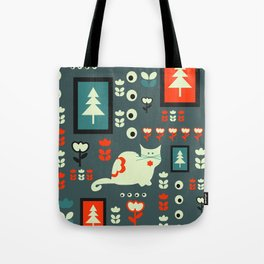White cat and holiday decor Tote Bag
