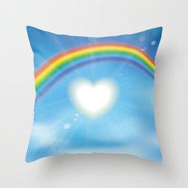 Rainbow sky sun heart Throw Pillow