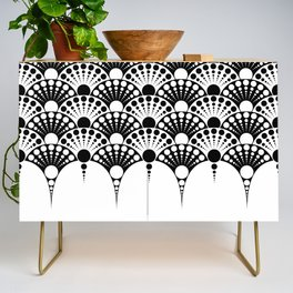 black and white art deco inspired fan pattern Credenza