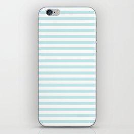 Duck Egg Pale Aqua Blue and White Wide Thin Horizontal Deck Chair Stripe iPhone Skin