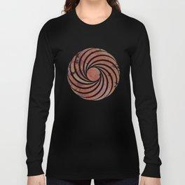 Caravans II:  Asian Print  Plum, gold, pink grey origami textile geometric design Long Sleeve T-shirt