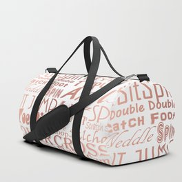 Figure Skating Subway Style Typographic Design Rose Gold Foil Duffle Bag