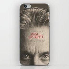 Wall Street, alternative movie poster, Gordon Gekko, Oliver Stone, film, minimal fine art playbill iPhone Skin
