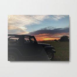 Jeep in Sun Metal Print