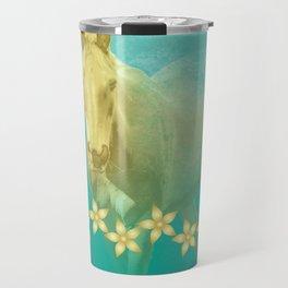 Golden ghost horse on teal Travel Mug