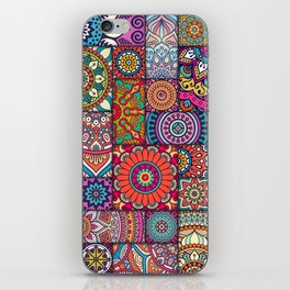 Boho Patchwork Quilt Pattern 2 iPhone Skin