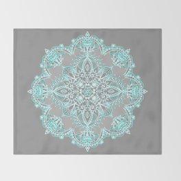 Teal and Aqua Lace Mandala on Grey Throw Blanket