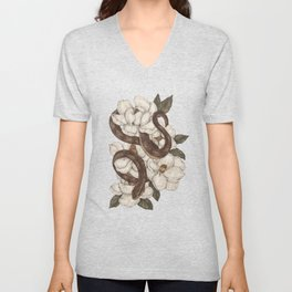 Snake and Magnolias Unisex V-Neck
