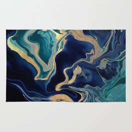 DRAMAQUEEN - GOLD INDIGO MARBLE Rug