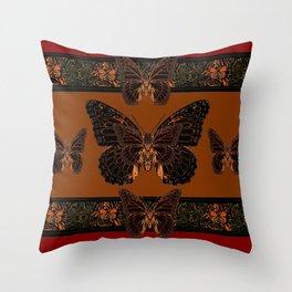 BLACK  MONARCH BUTTERFLIES,COFFEE BROWN-BURGUNDY ART Throw Pillow