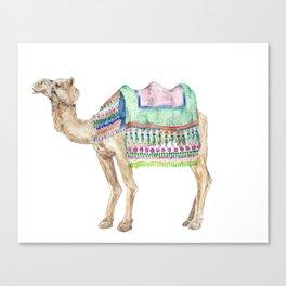 Boho Camel Tassel India Morocco Camel Watercolor Canvas Print