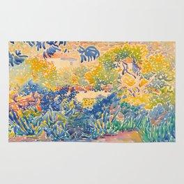 Henri-Edmond Cross Neo-Impressionism Pointillism The Artist's Garden at St. Clair Watercolor Paintin Rug