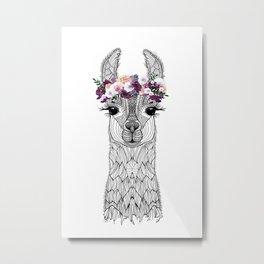 FLOWER GIRL ALPACA Metal Print