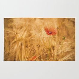 Fiery poppy in a golden cornfield - Poppies Flower Flowers Rug