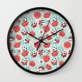 Poppy Pandas Wall Clock