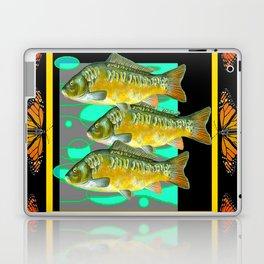 MODERN  MONARCH BUTTERFLIES FISH BLACK  AQUATIC  COLLAGE Laptop & iPad Skin
