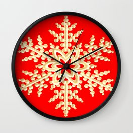 Snowflake in a Red Field Wall Clock