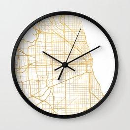 CHICAGO ILLINOIS CITY STREET MAP ART Wall Clock