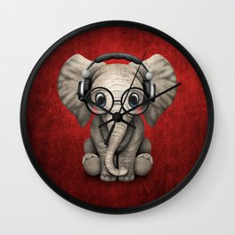 Cute Baby Elephant Dj Wearing Headphones and Glasses on Red Wall Clock