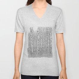 Birch Trees Black and White Illustration Unisex V-Neck