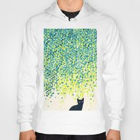 budi Hoodies featuring Cat in the garden under willow tree by Picomodi