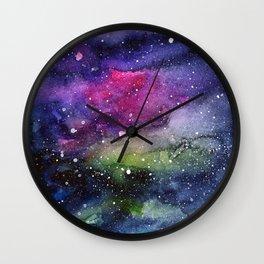 Galaxy Watercolor Night Sky Painting Nebula Art Wall Clock