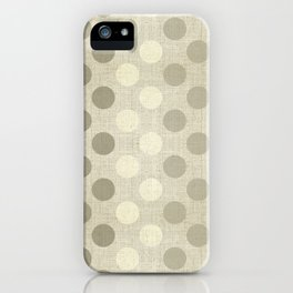 """Nude Burlap Texture and Polka Dots"" iPhone Case"
