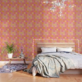 25 Designs Patchwork in Orange Pink and Yellow Wallpaper