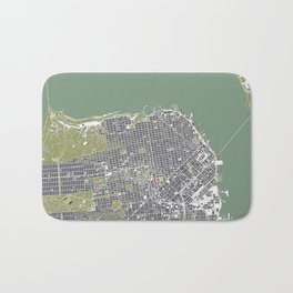 San Francisco city map engraving Bath Mat
