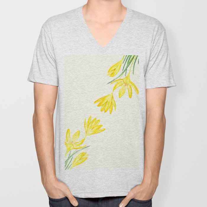 yellow botanical crocus watercolor Unisex V-Neck