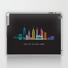 New York Skyline Empire State Poster Black Laptop & iPad Skin