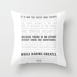 Man in the Arena Teddy Roosevelt Quote Throw Pillow