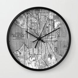 Vintage Map of Seattle Washington (1914) BW Wall Clock