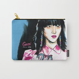 fashion #7. portrait of a dark-haired woman in pink satin dress with a dragon Carry-All Pouch