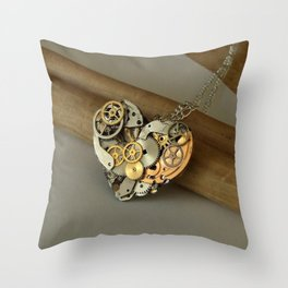 Steampunk Heart of Gold and Silver Throw Pillow