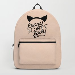 Crazy Cat Lady Calligraphy Lettering with Cat Ears & Whiskers on Pink Backpack
