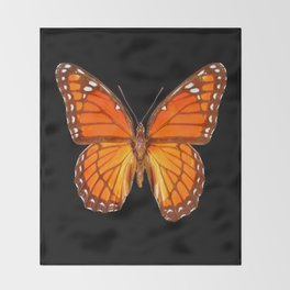ORANGE MONARCH BUTTERFLY ON BLACK Throw Blanket