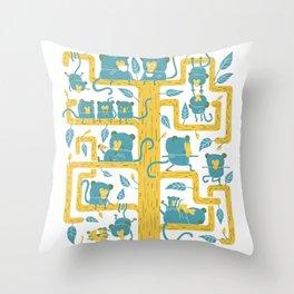 Monkeys Family Throw Pillow