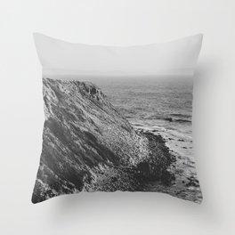 Point Vicente - California Coast - Black & White Version Throw Pillow