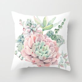 Pink Succulents by Nature Magick Throw Pillow