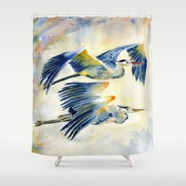 Flying Together - Great Blue Heron Shower Curtain
