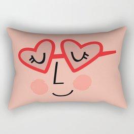 Heart Sunnies Face in Peach Rectangular Pillow