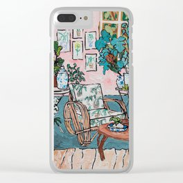 Rattan Chair in Jungle Room Clear iPhone Case