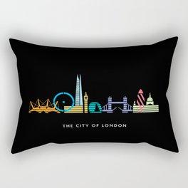 London Skyline Black Rectangular Pillow